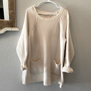Soft Surroundings oversized sweater dress/tunic with pockets in cream